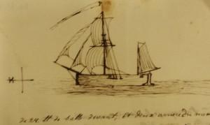 Sketch of a ship by Captain John Bentinck, 1759 (Ref: BK 6/1/3/33)