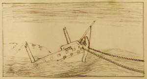 Sketch of a sinking ship, 1759 (Ref: BK 6/1/3/33)
