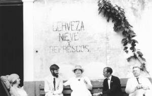 Idella Purnell, D.H. Lawrence, Frieda Lawrence, Willard Johnson and Dr George E. Purnell (from left to right) at a cantina in Chapala, Mexico. The photograph was taken by Witter Bynner in 1923.