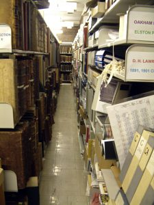 Shelves in the Special Collection Store, Hallward Library, December 2005
