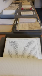Documents and drafts of books from the Colin Wilson Archive and Printed Collection displayed at the Conference