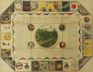 Brightly coloured card Pleasures of Astronomy board game, crease lines evident and the rules printed in the centre with an illustration of the Royal Society buildings
