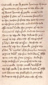 Front of an English translation of The Life of St Zita, 15th century (WLC/LM/37)
