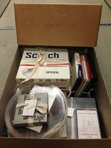 Archive box of recordings on reels, cassette tapes and other media formats