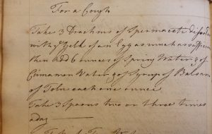 Handwritten cure for a cough