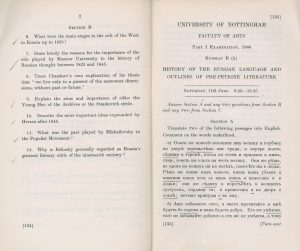 Exam paper for the School of Medieval and Modern Languages 'Russian Life and Thought', and 'History of the Russian language', 1960