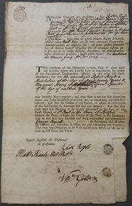 Printed marriage bond with the individuals' details filled in by hand