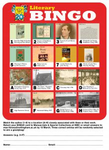 Literary Bingo card with 16 images from the archive collections