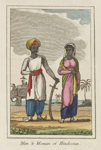Colour illustration of an Indian man and woman in traditional dress, with an elephant in the background