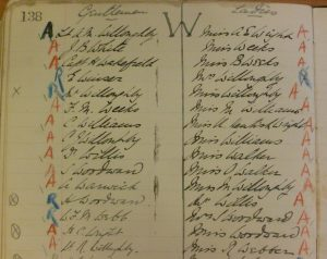 Handwritten index with A or R in coloured pencil added beside names