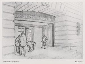 Sketche of workmen completing the Portland Building by Dave Pigott, published in The Gong, December 1956