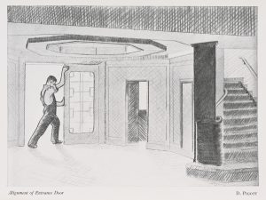 Sketch of workmen completing the Portland Building by Dave Pigott, published in The Gong, December 1956,