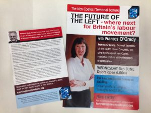 Flyers for the inaugural Ken Coates Memorial Lecture, 2015 (Ref. MS 958)
