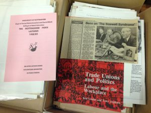 Material from the archive including a newspaper article showing Coates sharing a platform with Tony Benn and Arthur Scargill, and a 1982 University leaflet advertising the Nottingham Peace Lectures (Ref. KCS 3)