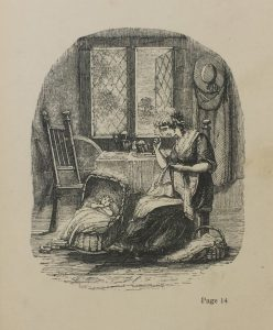 Engraving depicts a domestic scene of a mother sewing and a baby in a basket on the floor