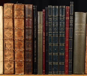 Spines of leather bound books