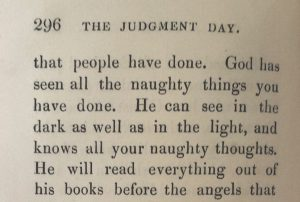 Extract from the book: 'God has seen all the naughty things you have done. He can see in the dark as well as in the light, and knows all your naughty thoughts'.