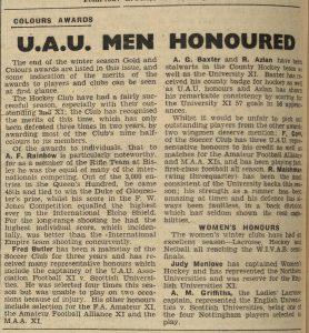 Newspaper article entitled U.A.U. Men Honoured