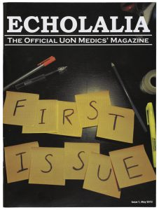 Cover of Echolalia showing yellow post-its with one letter written on them, spelling 'First  Issue'