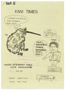 Cover of Kiwi Times, with a line drawing of a kiwi bird and a man, both with thought bubbles