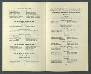 Printed booklet of names of students awarded degrees, listed by subject