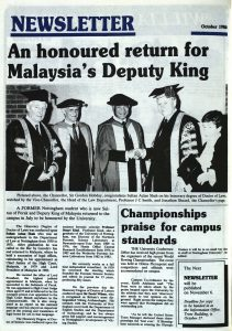 Front page of the newsletter showing a photo of Shah and the University officials at the honorary degree ceremony