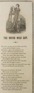 The Morn Was Gay lyrics, with engraving of a couple and their child at the top
