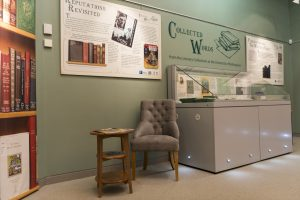 Chair and table in the reading corner of the Collected Words exhibition