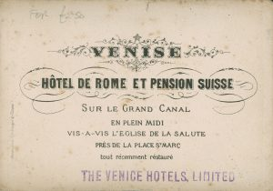 Fancy printed text with the name and address of the hotel