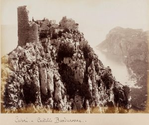 Ruined castle perched on the cliff edge