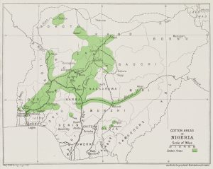 map of Nigeria with the cotton growing regions coloured green