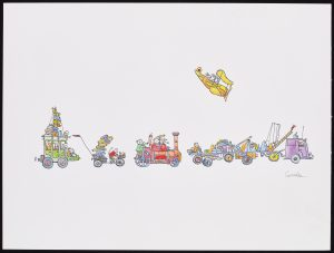 Convoy of different cartoon vehicles