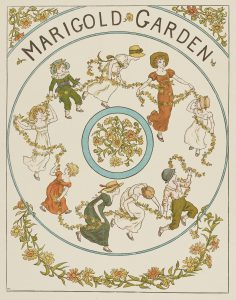 Children holding hands and garlands of flowers and dancing in a circle, edges of the page decorated with marigolds
