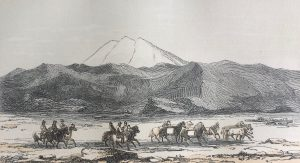 Engraving of figures riding horses against a backdrop of rocks and snowy mountains