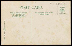 Blank reverse side of the postcard