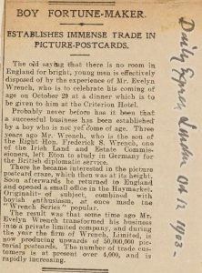 Newspaper cutting entitled 'Boy Fortune Maker' from the Daily Express