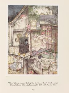 Colour illustration of a section of a fairy tale house showing the human and supernatural occupants getting ready for the night