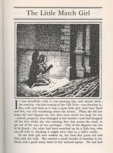 Illustration of the match girl in the snow, warming her hands with a lighted match, above the opening text of the story
