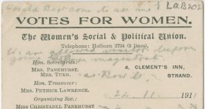 Printed postcard with Votes For Women and the Union's contact details, Stewart's writing is cramped between printed text
