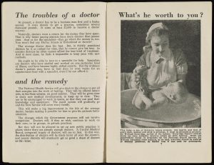 Printed pamphlet, one page text and the other showing a photo of a nurse washing a baby