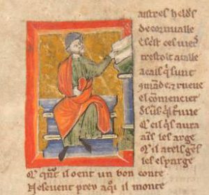 Illuminated manuscript depicting a man in green and red robes seated reading a book