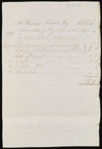 Handwritten itemised medical bill