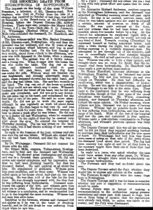 Scanned copy of a newspaper article reporting on a rabies case in Nottingham