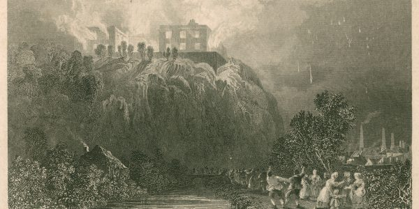 Drawing of Nottingham Castle on fire, 1831, by Thomas Allom, engraved by R. Sands. East Midlands Special Collection Not 1.D14 ALB os (6001692403)