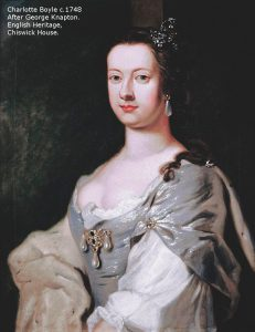 Portrait of Lady Charlotte, dressed in white and grey, in a seated pose