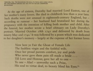 Image of a page in a modern book about Dorothy's death