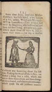 Printed page from a book with a woodcut depicting a man and a woman in 17th century dress, the woman is holding something but the image is too poor quality to identify it.