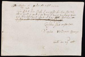 Presentment bill written in Secretary hand., faded brown ink on paper.