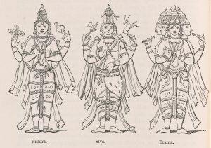 Engraving of Vishnu, Siva and Brama