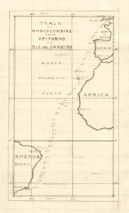 Map plotting the course of the ship crossing between Spithead and Rio de Janeiro